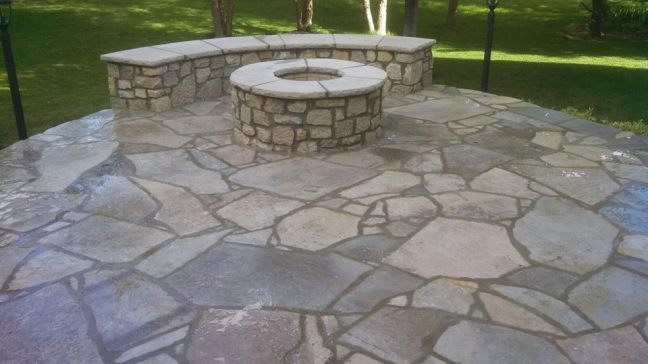Patio and firepit by Sharp Masonry